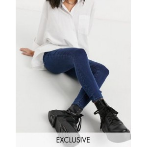 COLLUSION x002 super skinny high waist jeans in dark wash blue Size 10 for Women in new look MXXJ796