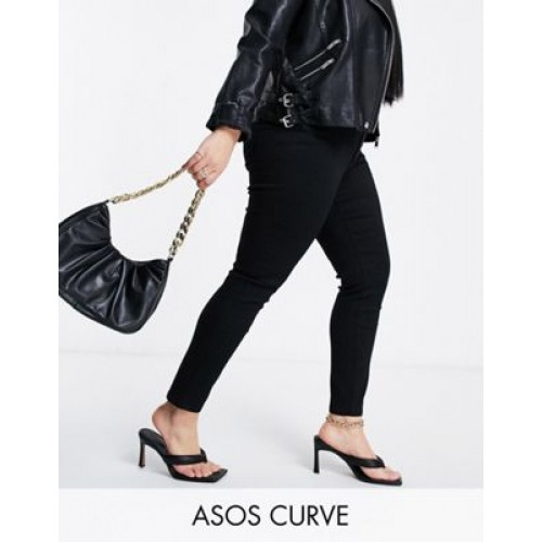 DESIGN Curve high rise ridley skinny jeans in clean black cool designs MOIS415