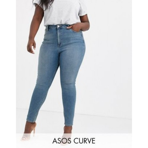 DESIGN Curve high rise ridley 'skinny' jeans in pretty mid stonewash Size 12 for Women's Regular OOLE175