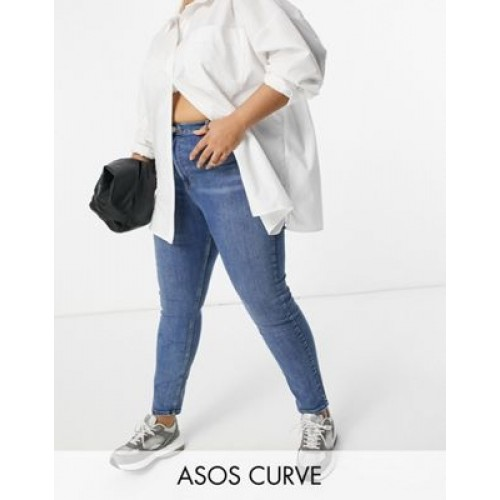 DESIGN Curve hourglass high rise 'lift and contour' skinny jeans in midwash for Women Fashion MTRS203