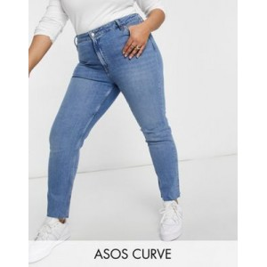 DESIGN Curve mid rise vintage 'skinny' jeans in pretty midwash Size 14 for Women Latest Fashion FGAP304