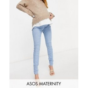 DESIGN Maternity high rise ridley 'skinny' jeans in stonewash with with over the bump waistband LDRV144