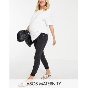 DESIGN Maternity high rise ridley 'skinny' jeans in washed black with over the bump waistband Size 12 for Women's AJEB513