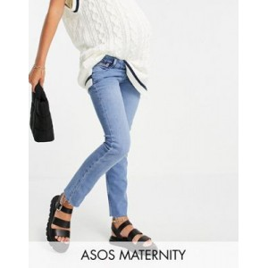 DESIGN Maternity vintage 'skinny' jeans in pretty midwash with over the bump waistband For Hot Weather OCLN571