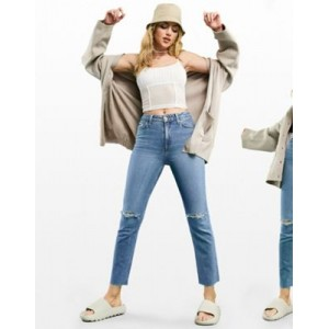 DESIGN mid rise vintage 'skinny' jeans in midwash with rips SWKD652