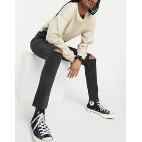 DESIGN mid rise vintage 'skinny' jeans in washed black with rips cool designs GJVY400