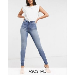 DESIGN Tall high rise 'ridley' skinny jeans in authentic midwash for Young Women Clearance Sale DRLH132