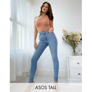 DESIGN Tall high rise 'ridley' skinny jeans in stonewash Curvy for Women's Cost CVZQ467