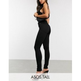 DESIGN Tall hourglass high rise 'lift and contour' skinny jeans in black for Young Women Express FQUA617