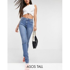 DESIGN Tall mid rise vintage 'skinny' jeans in midwash with rips Size 18 for Women Or Sale Near Me CMJI891
