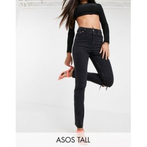 DESIGN Tall mid rise vintage 'skinny' jeans in washed black with rips for Women online shopping HMFD647