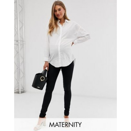 Mamalicious Maternity slim jeans with bump band in black Shop JLPA406