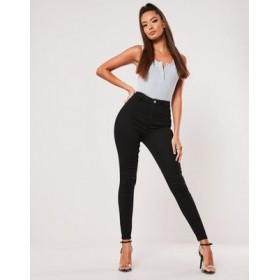 Missguided Vice high waist skinny jeans with belt loops in black for Women PCKM229