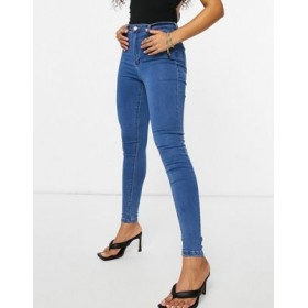 Missguided vice highwaisted skinny jean with belt loops in blue Size 12 for Women business casual OVYU968