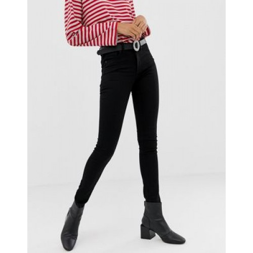 Monki Mocki mid waist jeans with organic cotton in black deluxe Size 16 for Women Fit WMBA959