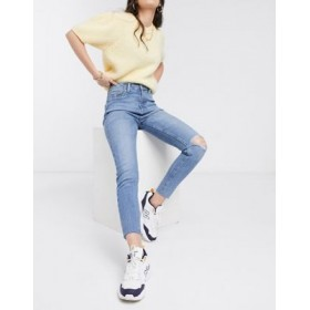 New Look high waist disco skinny jeans with rips in mid blue for Women Business Casual BZIB667