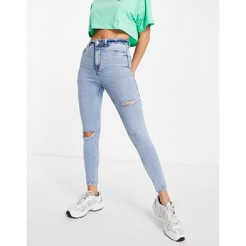 New Look ripped disco jeans in light blue Curvy for Young Women New Season JLIN167