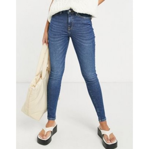 Selected Femme Sophia skinny jeans with mid rise in dark blue for Young Women Ships Free THVC987