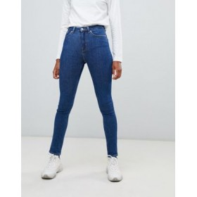 Weekday Thursday organic cotton high waist skinny jeans in win blue Size 12 FICE862