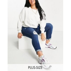 Yours ripped mom jeans in bright blue wash for Women's comfortable GLWH774