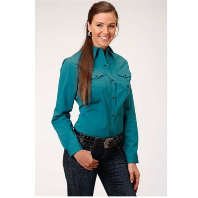 Amarillo Women's Turquoise Cool Pines Solid Long Sleeve Western Shirt For Summer - Long Sleeve Shirts on sale near me NTJLM5884