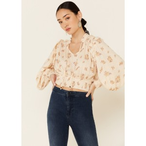 Angie Women's Ivory Floral Smocked Long Sleeve Peasant Top Valentine - Long Sleeve Shirts  shopping 8JQYF9403