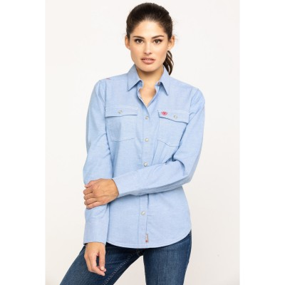 Ariat Women's FR Solid Durastretch Work Shirt For Summer - Long Sleeve Shirts Fitted I5P5P2301