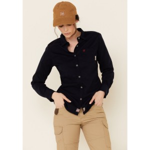 Ariat Women's Navy FR Taylor Knit Long Sleeve Work Shirt Going Out - Long Sleeve Shirts  in style 26F2H1482