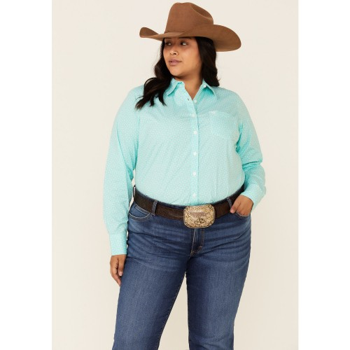 Ariat Women's Turquoise Print Kirby Button-Down Western Core Shirt - Plus For Large Arms - Long Sleeve Shirts 9DQ3R4308