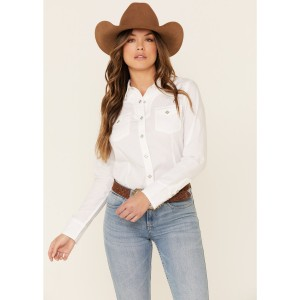 Ariat Women's White R.E.A.L Infamous Solid Long Sleeve Western Shirt Petite - Long Sleeve Shirts  Discount W6BEV2024