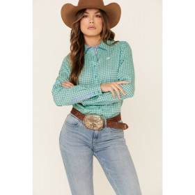 Cinch Women's Green Tile Print Button Front Long Sleeve Western Shirt For Large Arms - Long Sleeve Shirts  EVVJ92588
