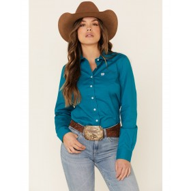 Cinch Women's Teal Solid Button Front Long Sleeve Western Shirt Plus Size - Long Sleeve Shirts  boutique ZIPPJ9203