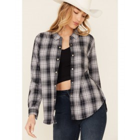 Flag & Anthem Women's Maxie Plaid Long Sleeve Snap Western Core Shirt Oversized - Long Sleeve Shirts  Recommendations LWTX19262