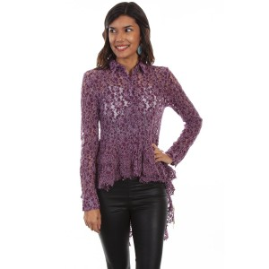 Honey Creek by Scully Women's Hi/Lo Lace Button Front Blouse - Long Sleeve Shirts  ZW3PF3777