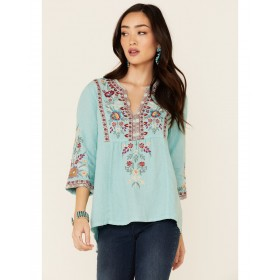Johnny Was Women's Nya Weekend Floral Embroidery 3/4 Sleeve Top - Long Sleeve Shirts  On Sale 4BHR45671