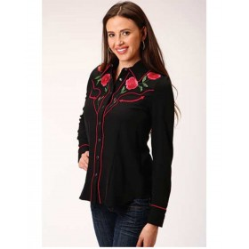 Old West Women's Black Rose Embroidered Long Sleeve Western Shirt 3XL - Long Sleeve Shirts  comfortable IVKEP4993