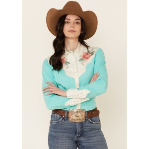 Rock & Roll Denim Women's Turquoise Rose Embroidered Long Sleeve Snap Western Shirt - Long Sleeve Shirts  sale next VPKLG9226