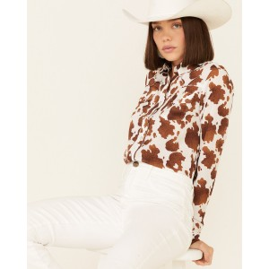 Roper Women's Cowhide Print Long Sleeve Snap Western Shirt For Large Arms - Long Sleeve Shirts  Top Sale GLWWG6336