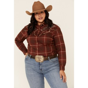 Rough Stock by Panhandle Women's Chamisa Ombre Plaid Long Sleeve Western Shirt - Plus Petite - Long Sleeve Shirts  Near Me NYRDI2738