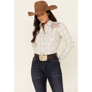 Rough Stock By Panhandle Women's Multi Plaid Embroidered Long Sleeve Snap Western Core Shirt Petite - Long Sleeve Shirts  Trend 6AIOH5468