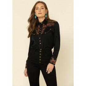 Scully Women's Floral Embroidered Long Sleeve Western Shirt - Long Sleeve Shirts  BL3YS4609