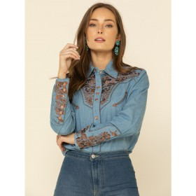 Scully Women's Floral Embroidered Long Sleeve Western Shirt Petite - Long Sleeve Shirts  At Target 8H3HG2512
