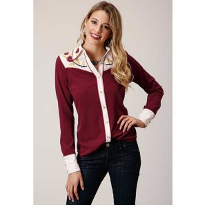 Studio West Women's Red Vintage Floral Embroidered Long Sleeve Western Shirt - Long Sleeve Shirts  Clearance Sale J39ON8802