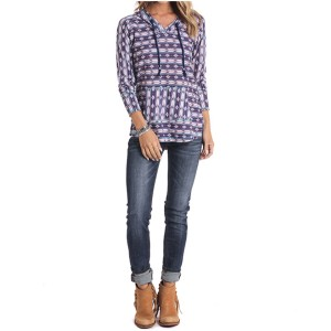 White Label by Panhandle Women's Aztec Pullover Hoodie - Plus Plus Size - Long Sleeve Shirts  W7L1L2876