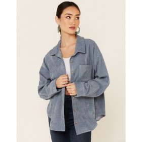 Wishlist Women's Solid Corduroy Oversized Long Sleeve Button-Down Western Shirt - Long Sleeve Shirts  The Top Selling O1BYP6962
