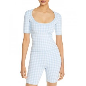 alexanderwang.t Women Gingham Jacquard Fitted Tee Oxford Blue For Large Arms Business Casual AOMN914
