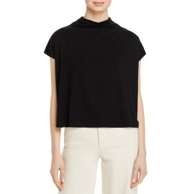Eileen Fisher Women's Funnel Neck Cropped Top - 100% Exclusive Black For Work Discount BBHC908