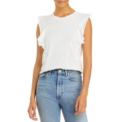 FRAME Women's Ruffled Summer Muscle Tee Blanc Plus Size Trends 2021 EVSM487