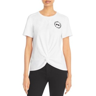 KARL LAGERFELD PARIS Women's Knit Knot Front Tee Soft White Petite In Store RKGW684
