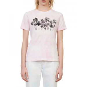 Maje Womens Taxi Cotton Graphic Tee Pink For Work ULSE527